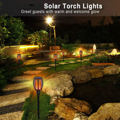 Solar Torch Lights Upgraded, Waterproof Flickering Flame Solar Torches Dancing Flames Landscape Decoration Lighting Dusk to Dawn Outdoor Security Solar Light for Garden Patio Driveway