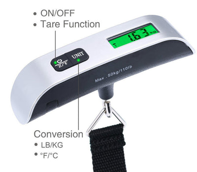 Digital Hanging Luggage Scale, Portable Handheld Baggage Scale for Travel, Suitcase Scale with Rubber Paint, Temperature Sensor, 110 Pounds, Battery Included