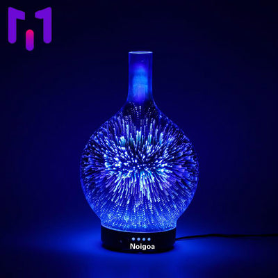 100ml 3D Aromatherapy Essential Oil Diffuser, Cool Mist Humidifier with Changing Starburst LED lights, Lead Free Glass, Wood Base, Waterless Shut Of