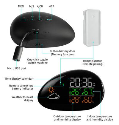 Led Humidity and Temperature Meter Weather Forecast Alarm and Snooze Wireless Calendar Thermometer Hygrometer Weather Station