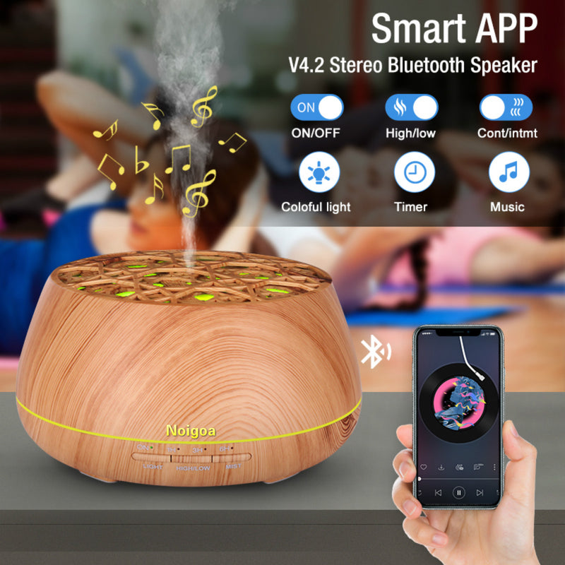 Wood Grain Cool-Mist 7 Color Led Diffuser Machine Electric Aroma Diffuser Mini Essential Oil Car Humidifier