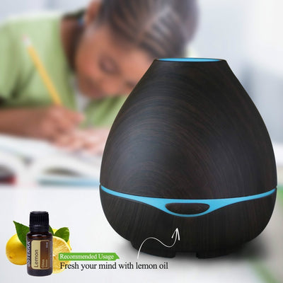 GXZOCK 300ml Oil Diffuser for Essential Oils, Aromatherapy Aroma Diffuser, Ultrasonic Cool Mist Humidifier-Soothing Color Night Light- Extremely Quiet -for Home, Large Room and Spa-Dark Wood