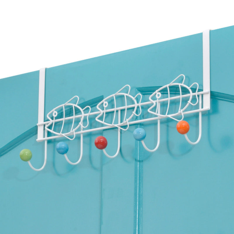 Over The Door Hook Multi Color Ceramic Knobbed Hooks and Stainless Steel Organizer Door Hanger Towel Rack