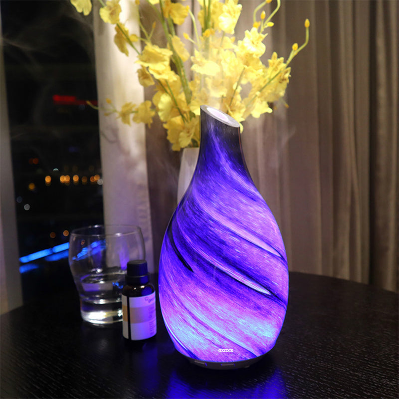 100ml glass art ultrasonic aromatherapy essential oil diffuser , glass ultrasonic aroma diffuser humidifier with 7 color changing light
