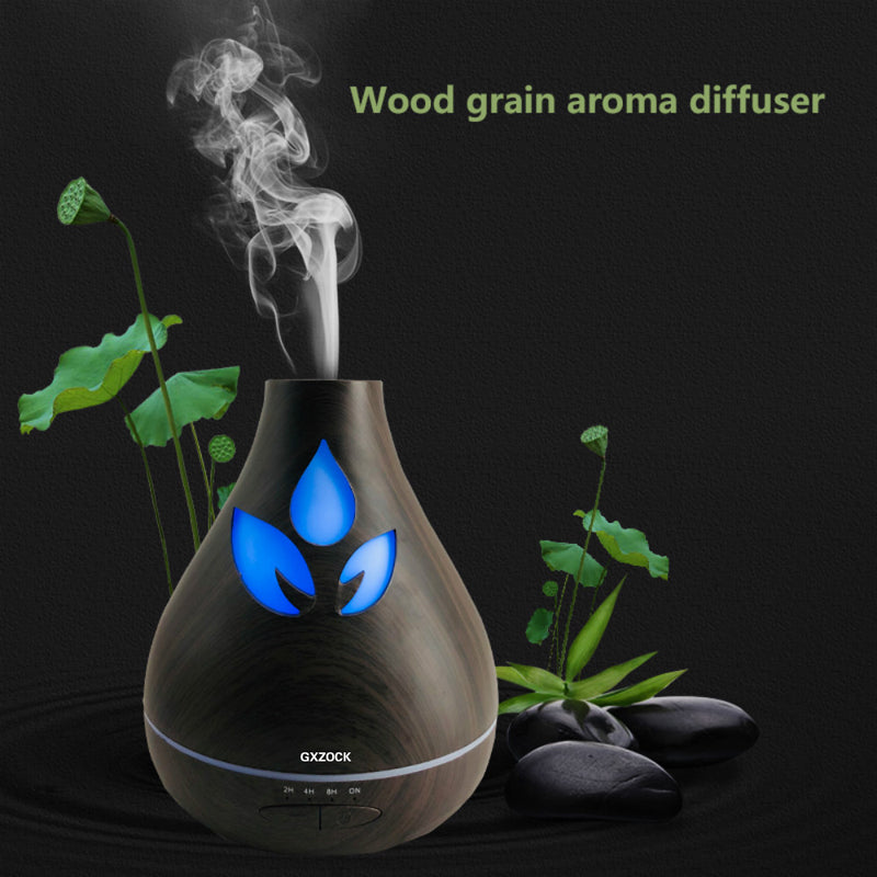530ML Ultrasonic Humidifier Aromatherapy 530ml Mist Maker Aroma Essential Oil Light Wooden Grain Diffuser 7 colorful changing color Ultrasonic Air Humidifier for spa hotel