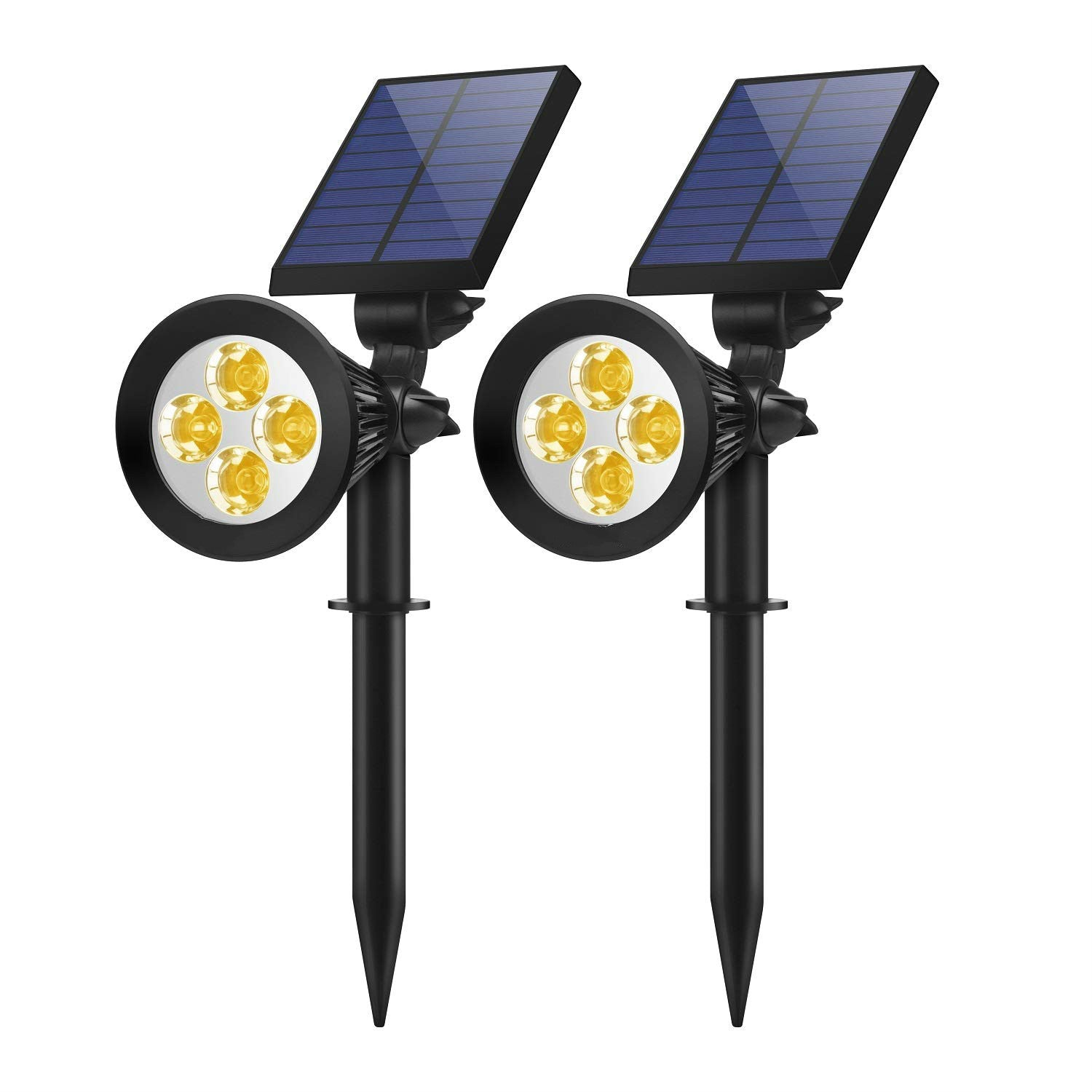 Solar Lights Outdoor, 2-in-1 Solar Spotlights Powered 7 LED Adjustable Wall Light Landscape Lighting, Bright and Dark Sensing, Auto On/Off for Yard, Pathway, Walkway, Garden, Driveway, 2 Pack