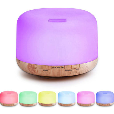 500ML 24V New Products Capacity 7 Colorful Led Lights Changing Ultrasonic Humidifier Aroma Essential Oil Diffuser
