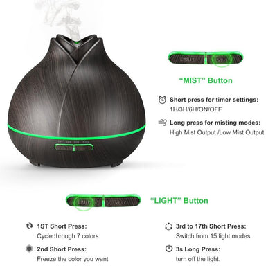 400ML Ultrasonic Aromatherapy Essential Oil Diffuser with Everlasting Comfort Diffuser for Essential Oils (400ml) - Super High Aroma Output with Cleaning Kit