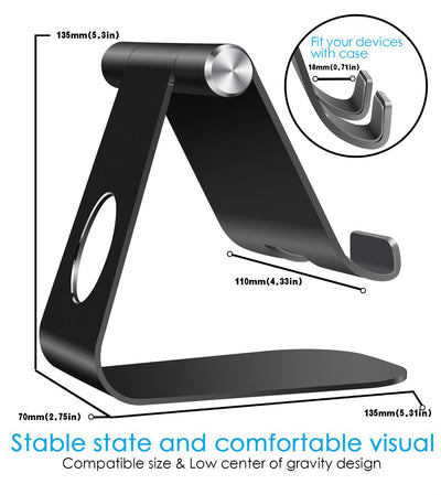 Tablet Stand Adjustable, Tablet Stand : Desktop Stand Holder Dock Compatible with Tablet Such as iPad 2018 Pro 9.7, 10.5, Air Mini 4 3 2, Kindle, Nexus, Tab, E-Reader (4-13'') - Silver