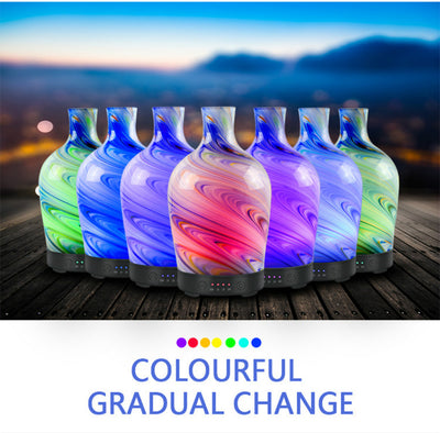 100ml Aromatherapy Essential Oil Diffuser Glass Handmade Cool Mist Humidifier Waterless Auto Shut-Off with 4 Time Setting and Color Changing Light