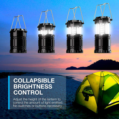 2 Pack LED Camping Lantern, LED Lantern, Suitable for Survival Kits for Hurricane, Emergency Light, Storm, Outages, Outdoor Portable Lanterns, Black, Collapsible