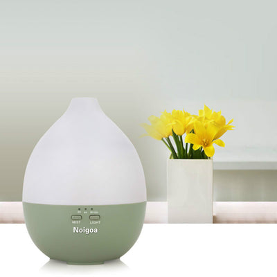 Cool mist teardrop wood grain noiseless electric aroma diffuser 200ml portable air humidifier with 7 led night light