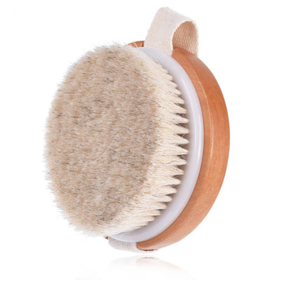 dry brushing body brush for dry skin brush,exfoliating with 100% boar bristle, round handle and back brush scrubber