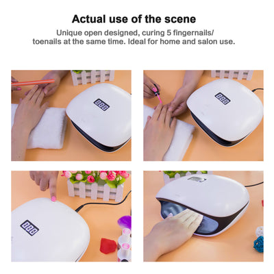 SUN4 Smart 2.0 UV LED Nail Lamp Double Light Source Low Heat Mode Fast Gel Curing 48W LED Nail Dryer Lamp