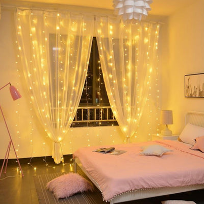 300 LED Window Curtain String Light with remote for Wedding Party Outdoor Indoor Wall Decorations