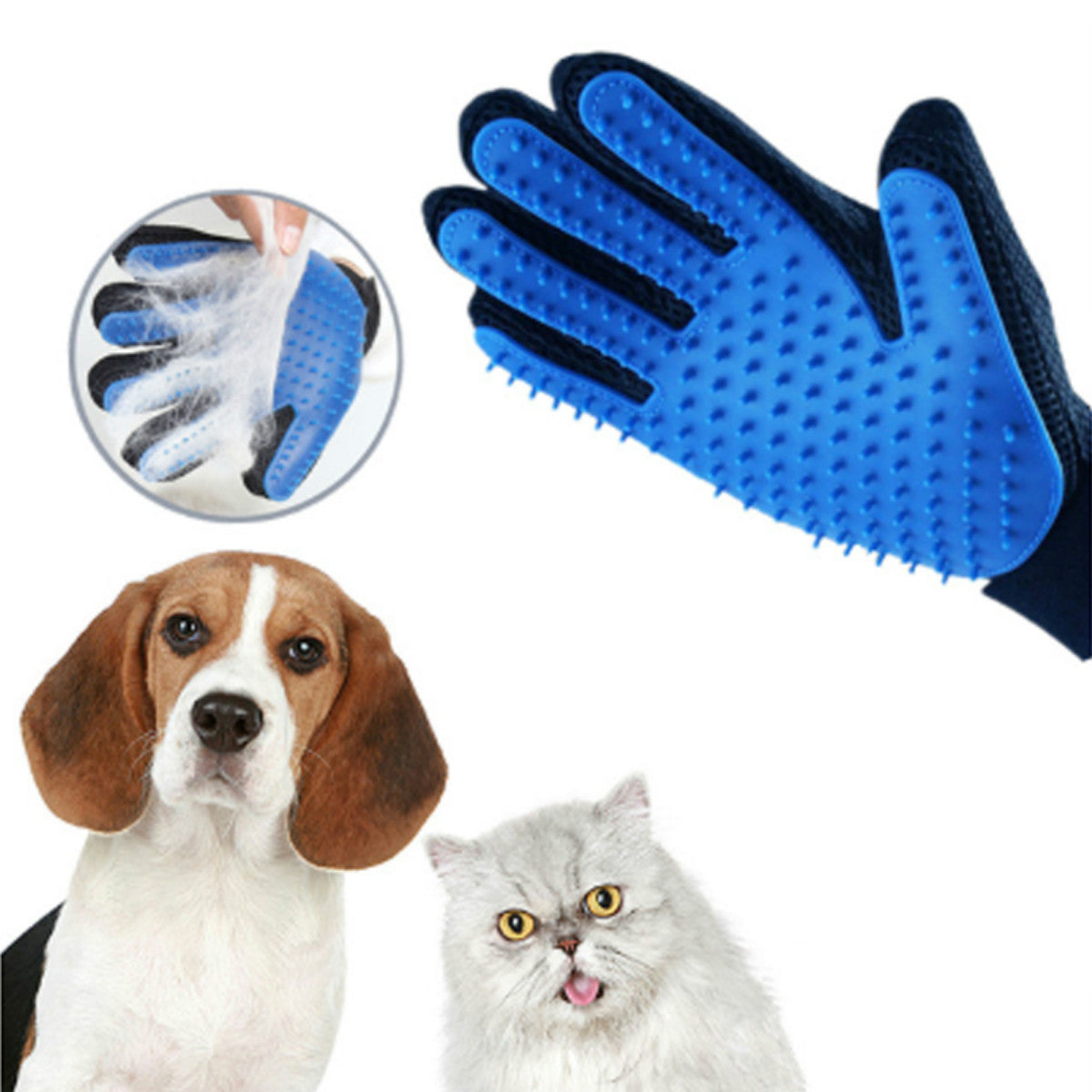 Pet Grooming Glove - Gentle Deshedding Brush Glove - Efficient Pet Hair Remover Mitt - Enhanced Five Finger Design - Perfect for Dog & Cat with Long & Short Fur - 1 Pair