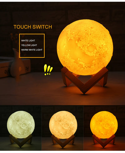 most popular 15cm Magical Two Tone Moon Lamp Led 3D Printing Warm Moon Lamp Touch Control Christmas Gift