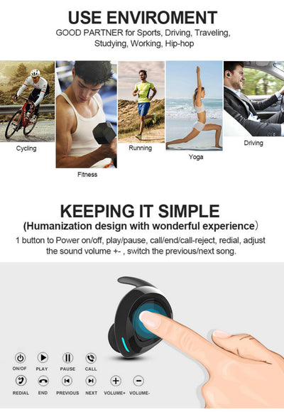 Siri Supporting V5.0 sports stereo wireless waterproof bluetooth headset/Earbuds/Headphone/Earphone  /TWS+ dual earphone direct-connection