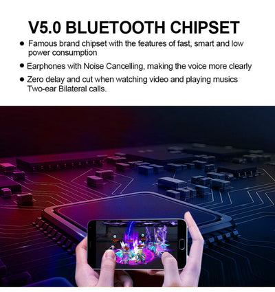 Siri Supporting V5.0 sports stereo wireless waterproof bluetooth headset/Earbuds/Headphone/Earphone  / TWS+ dual earphone direct-connection