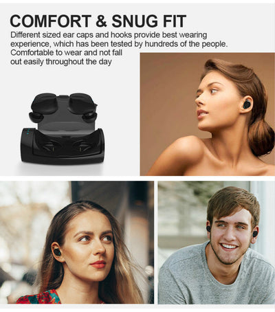 Bluetooth Headset, Wireless Earphones V5.0 Lightweight Sweatproof Headphones with In-ear Earbuds, Noise Cancelling Mic and Hands