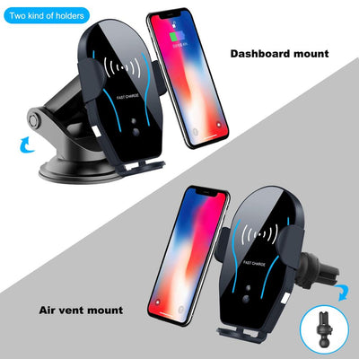 Universal 10w Automatic Clamping Car Holder Wireless Charger Fast Wireless Car Charger For Iphone For Samsung