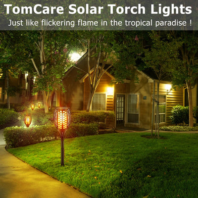Solar Torch Light Upgraded-Flickering Flames Torches Lights-Waterproof Solar Lights Outdoor Landscape Decoration Lighting Dusk to Dawn Auto On/Off for Garden Pathway Driveway 2Pack