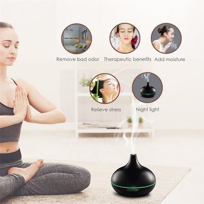 300ML Wooden Aroma Diffuser Essential Oil Humidifier Air Purifier Ultrasonic Aroma Humidifier with 7 Colors Light