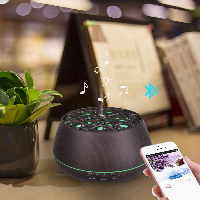 Ultrasonic Aroma Diffuser Support Bluetooth Speaker Electric Oil Diffuser,-- Humidify, purify, aromatherapy, Blutooth speaker, led light, decorate, beautify function.