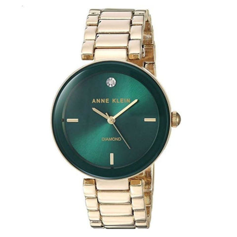Image of Anne Klein Womens Diamond-Accented Bracelet Watch - Gold/Green
