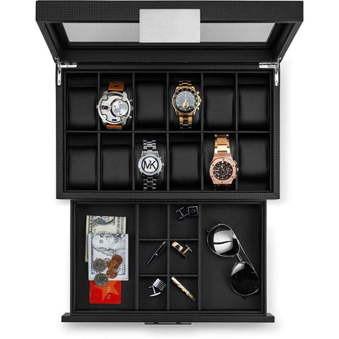 Glenor Co 12 Slot Luxury Watch Box with Valet Drawer for Men