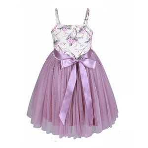 Little Girls Tutu Dress Purple Halter Casual Toddler Sundress