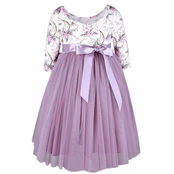 Girls Purple Tulle Wedding Party Dress 3/4 Sleeves