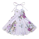 Purple Floral Summer Girls Dress Cotton Casual Toddler Clothes