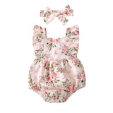 Baby Girls Romper+Headband Floral Printed Infant One-piece Bodysuit Summer Toddler Clothes