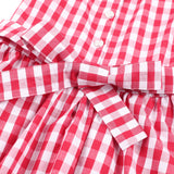 Girls Dress Red Gingham Summer Cotton Casual Dress for Kids