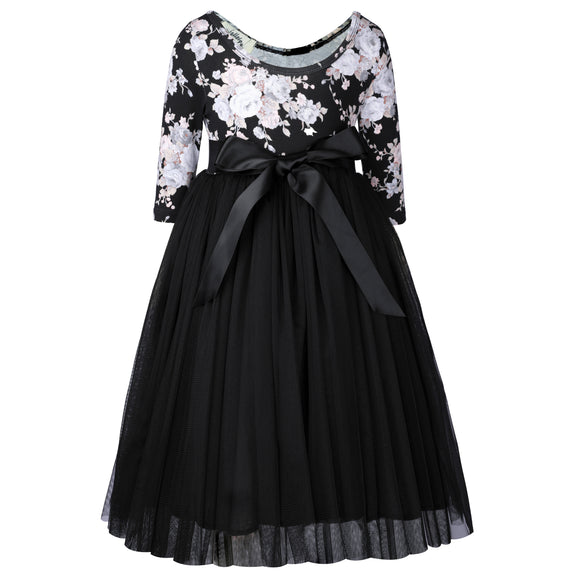 Girls Black Tulle Dress Easter Party Kids Dress