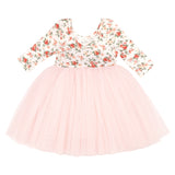 3/4 sleeves floral little girls tutu dress 4 layer tulle toddler princess dress