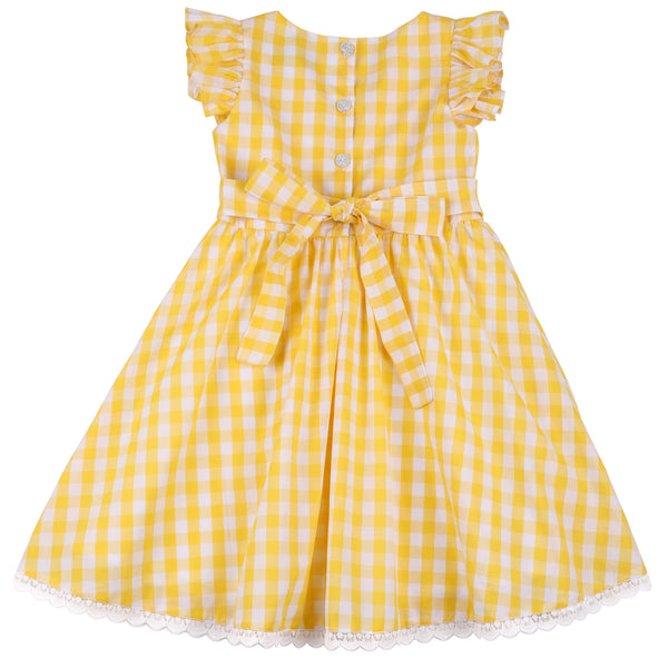 Girls Yellow Dress Summer Gingham Cotton Casual Dress