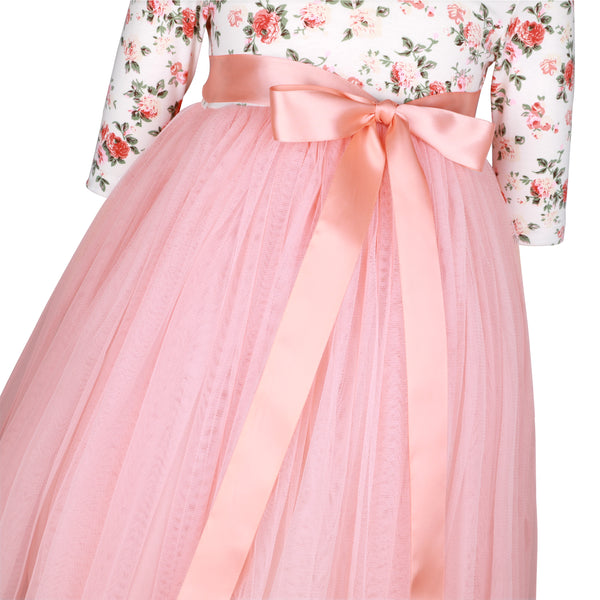 Girls Peach Wedding Party Dress with Ribbon for 1-12 Years Old