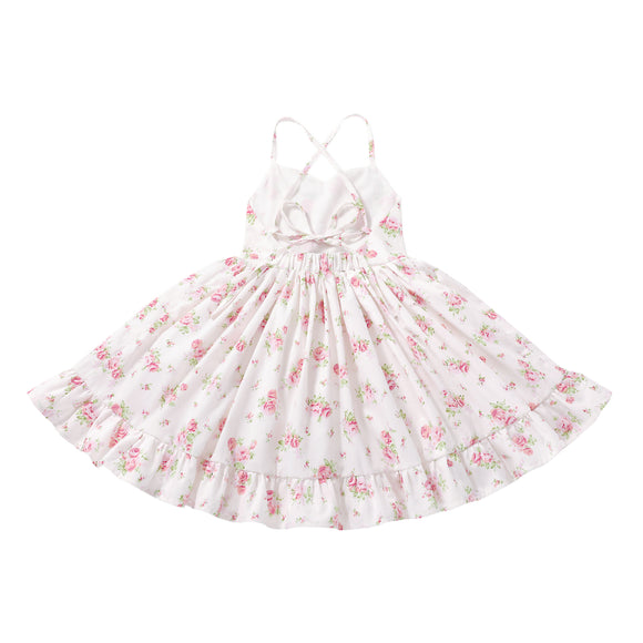 Flofallzique Floral Little Girls Boho Dress Summer Ruffle Casual Cotton Fancy Toddler Party Dress