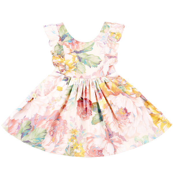 Little Girls Floral Dress Ruffle Sleeves Vintage Toddler Sundress