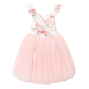 Floral tulle girls party dress pink toddler tutu birthday wedding cute baby outfit