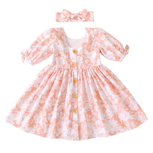 Flofallzique Floral Girls Dress Scoop Back 1/2 Sleeves Vintage Midi Dress Cute Kids Clothes