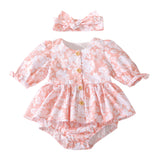 Coral floral baby romper Autumn vintage toddler girls clothes with headband Easter dress up