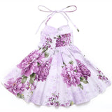 Vintage floral girls summer Party Dress for 1-12Y