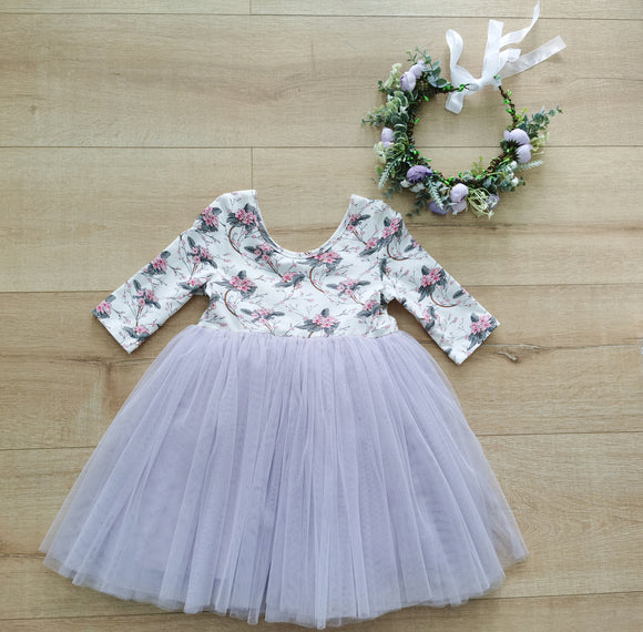 3/4 sleeves floral little girls tutu dress 4 layer tulle princess dress purple
