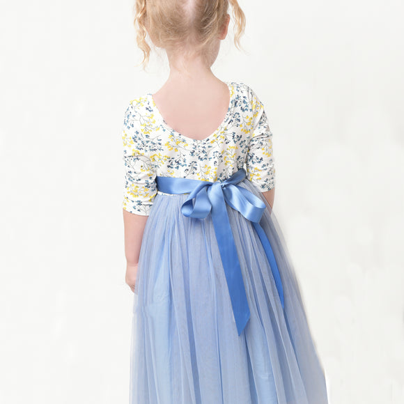 Blue tulle fancy girls party dress for 1-12 years old