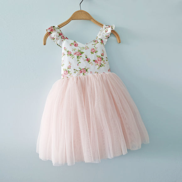 Flofallzique Floral tulle girls party dress pink toddler tutu birthday wedding cute baby outfit