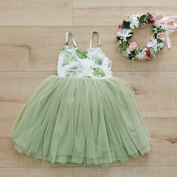 Summer Green princess girls dress tutu wedding party baby girls clothes