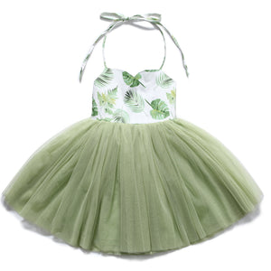 Summery Green princess girls dress tutu wedding party baby girls clothes Flofallzique